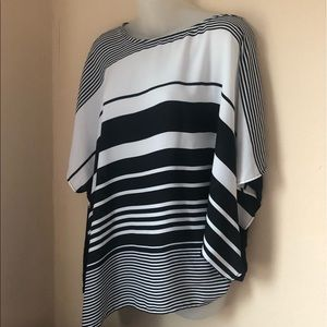 Lane Bryant Black and White Striped Kimono Blouse